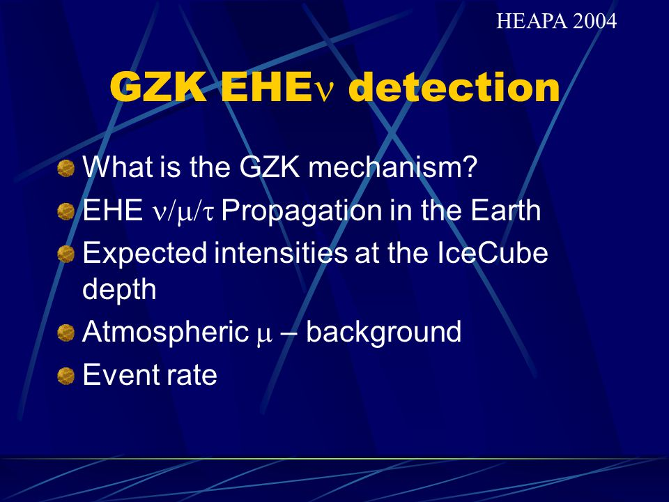 GZK EHEn detection What is the GZK mechanism