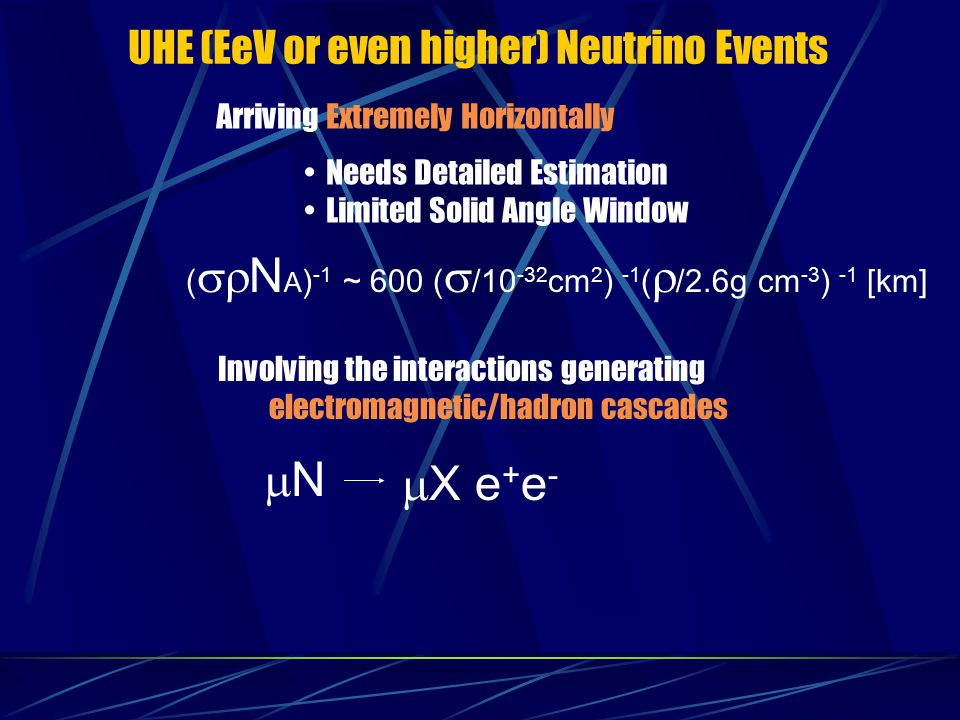 mN mX e+e- UHE (EeV or even higher) Neutrino Events