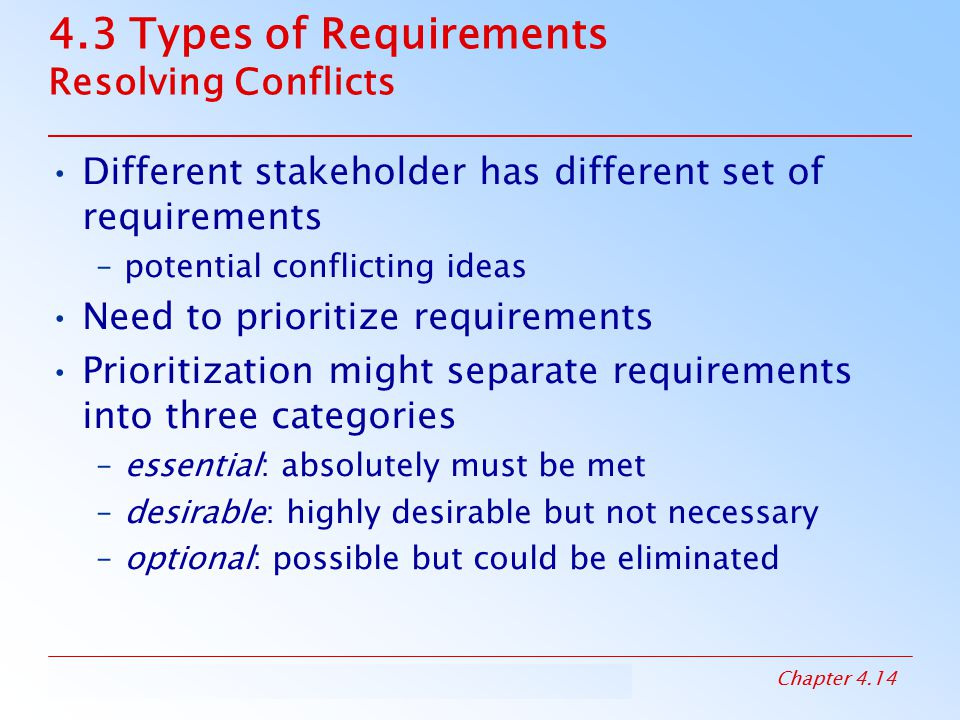 4.3 Types of Requirements Resolving Conflicts
