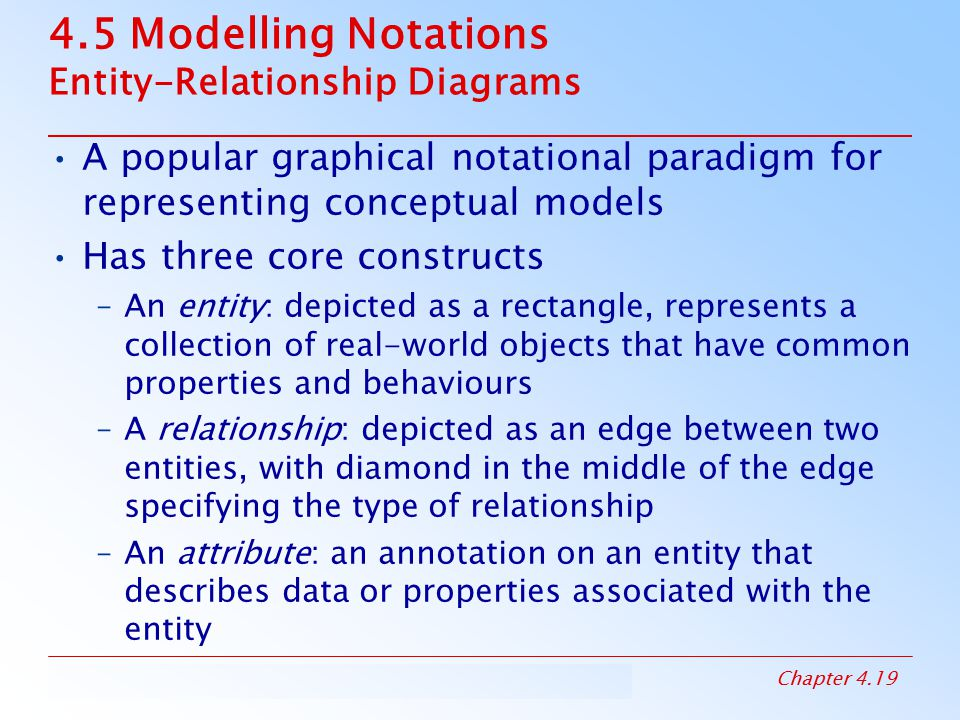 4.5 Modelling Notations Entity-Relationship Diagrams