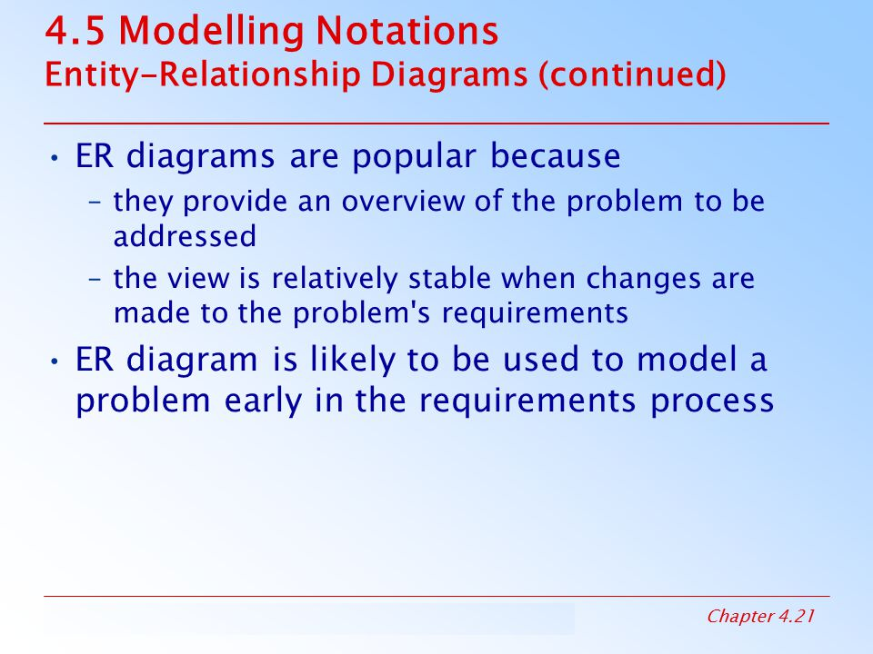4.5 Modelling Notations Entity-Relationship Diagrams (continued)