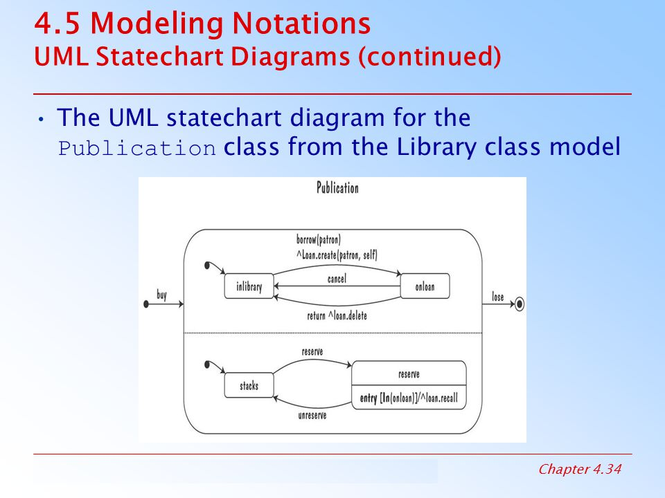 4.5 Modeling Notations UML Statechart Diagrams (continued)