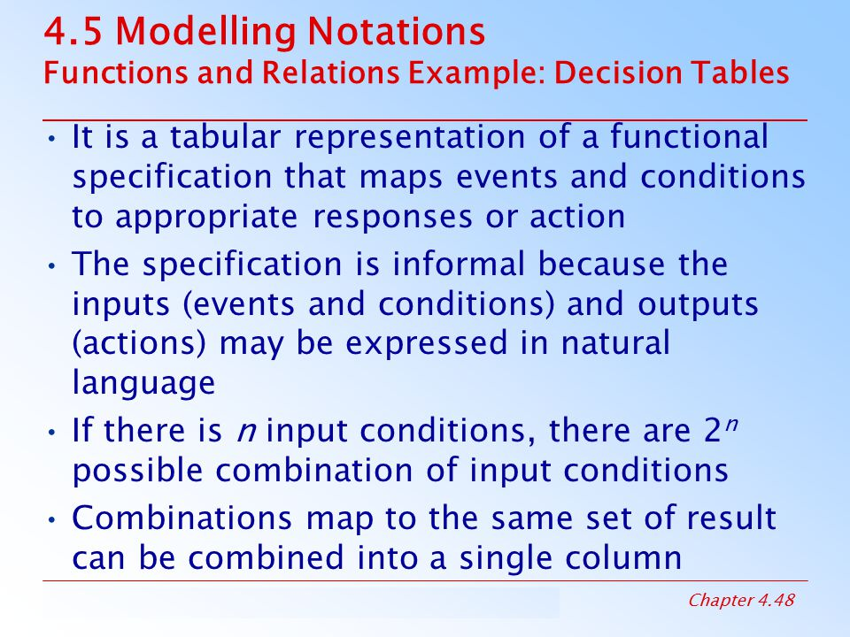 4.5 Modelling Notations Functions and Relations Example: Decision Tables