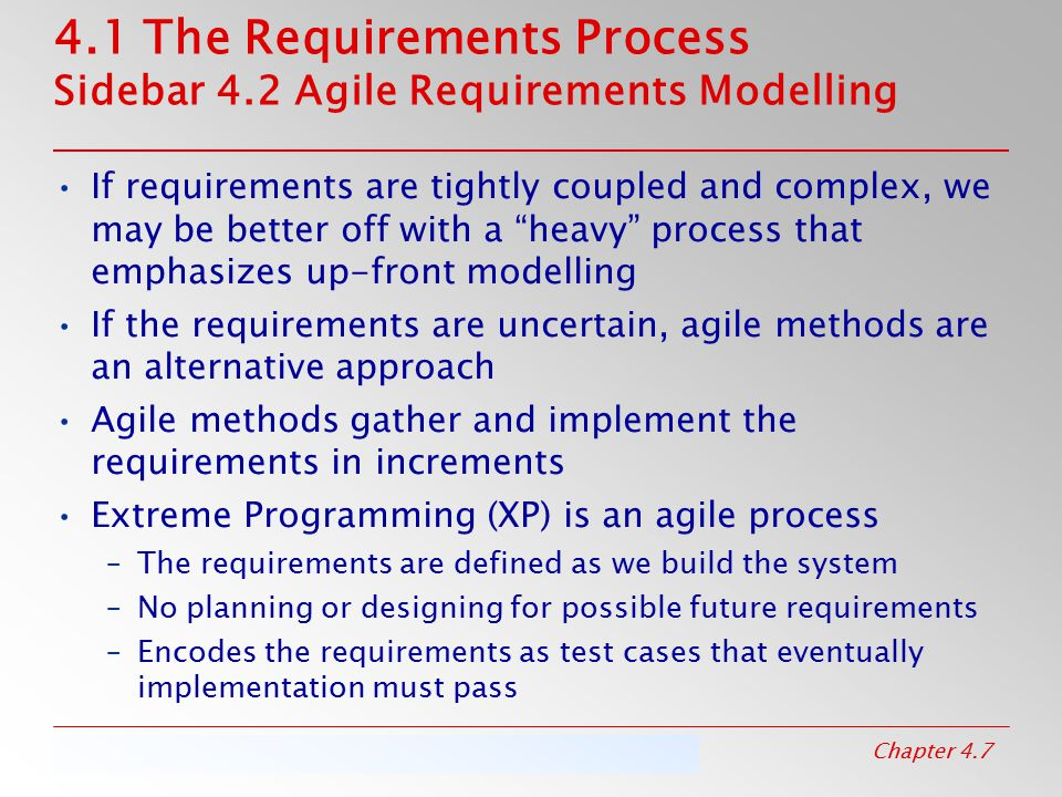 4.1 The Requirements Process Sidebar 4.2 Agile Requirements Modelling