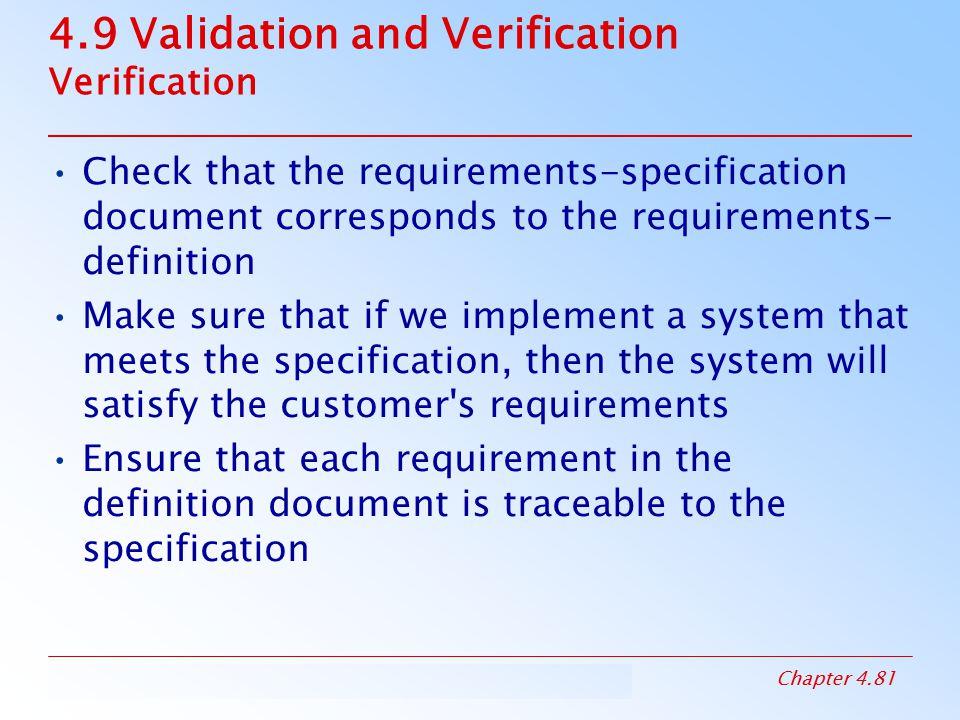 4.9 Validation and Verification Verification