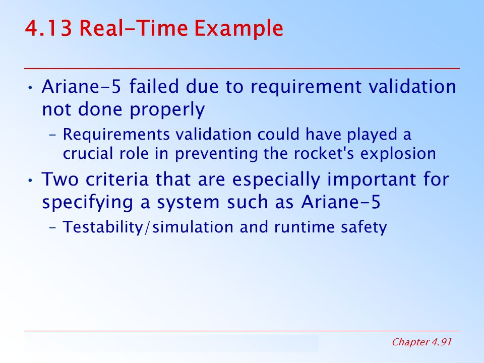 4.13 Real-Time Example Ariane-5 failed due to requirement validation not done properly.