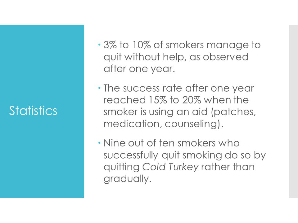 3% to 10% of smokers manage to quit without help, as observed after one year.