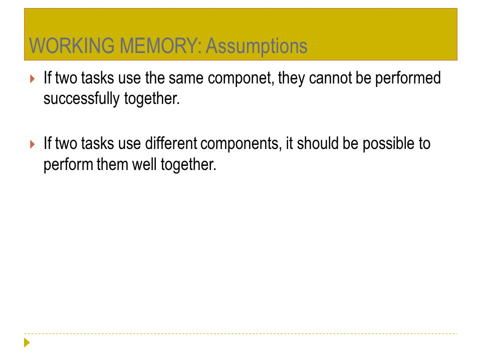 WORKING MEMORY: Assumptions