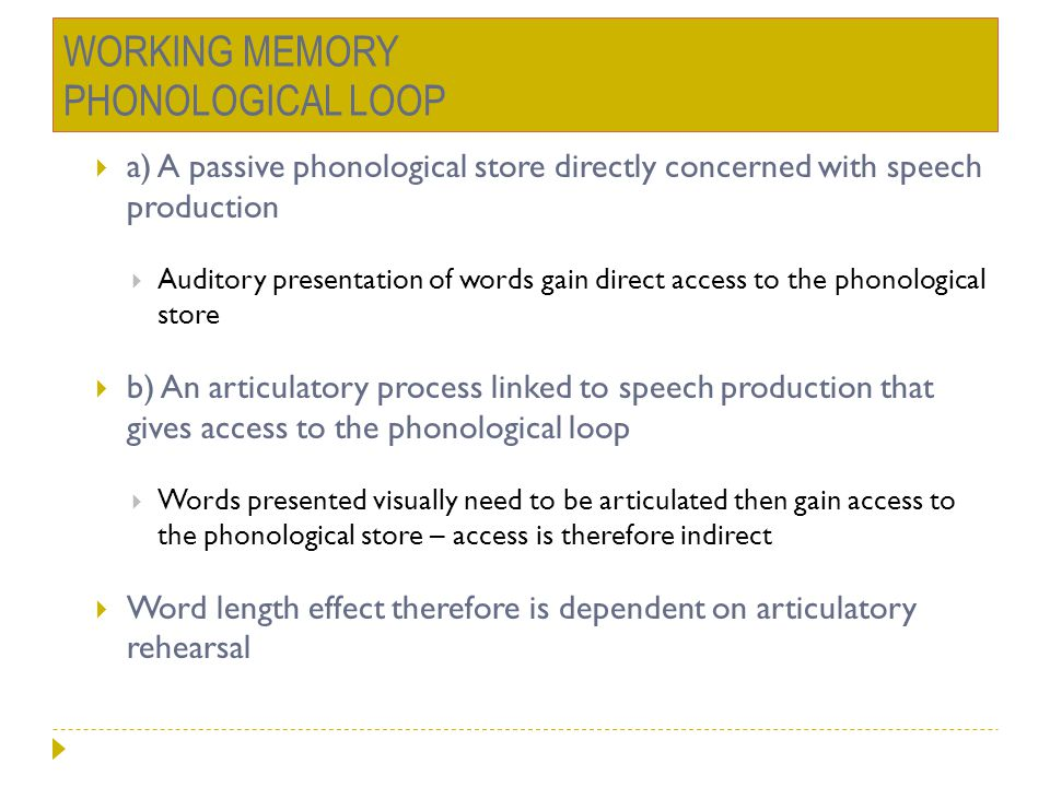 WORKING MEMORY PHONOLOGICAL LOOP