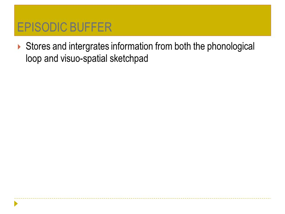EPISODIC BUFFER Stores and intergrates information from both the phonological loop and visuo-spatial sketchpad.