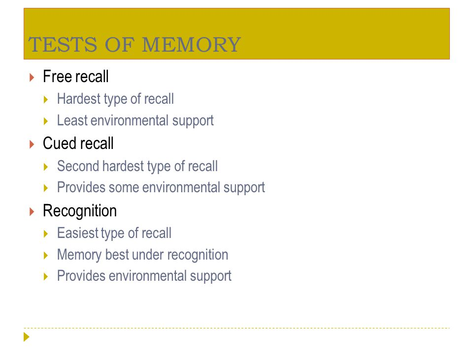 TESTS OF MEMORY Free recall Cued recall Recognition