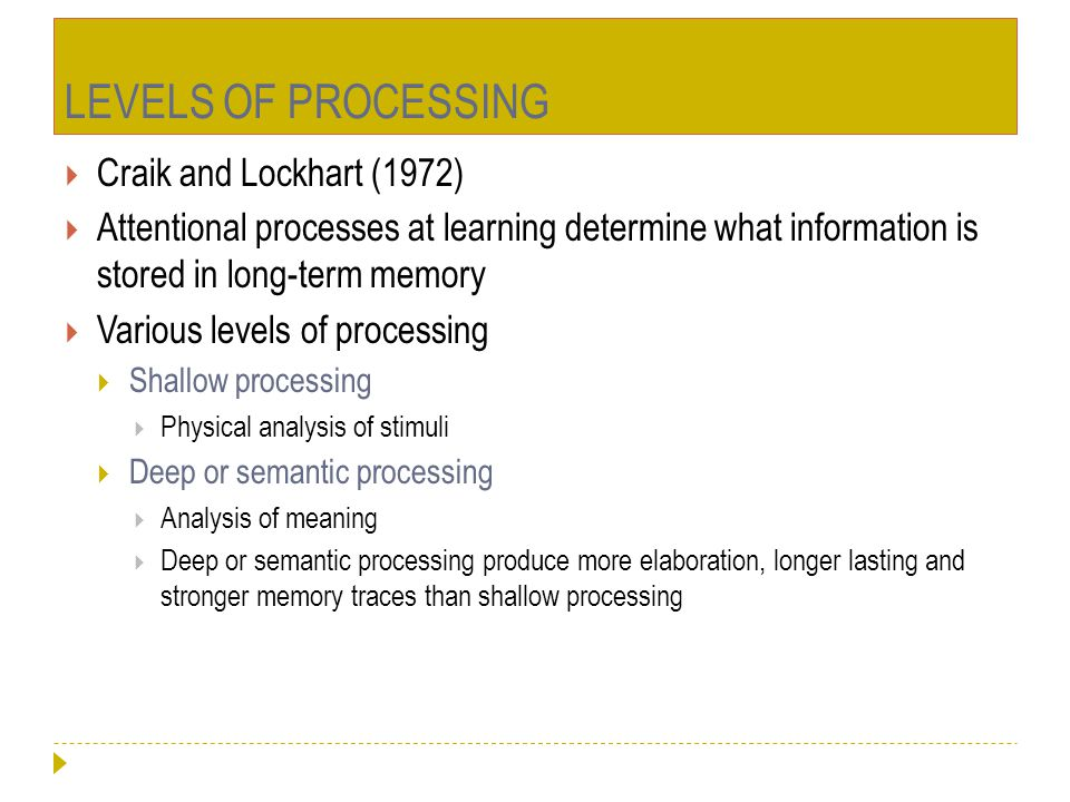 LEVELS OF PROCESSING Craik and Lockhart (1972)