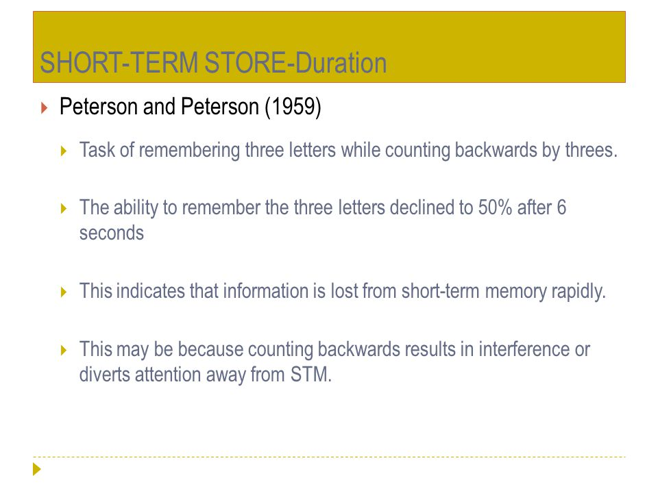 SHORT-TERM STORE-Duration
