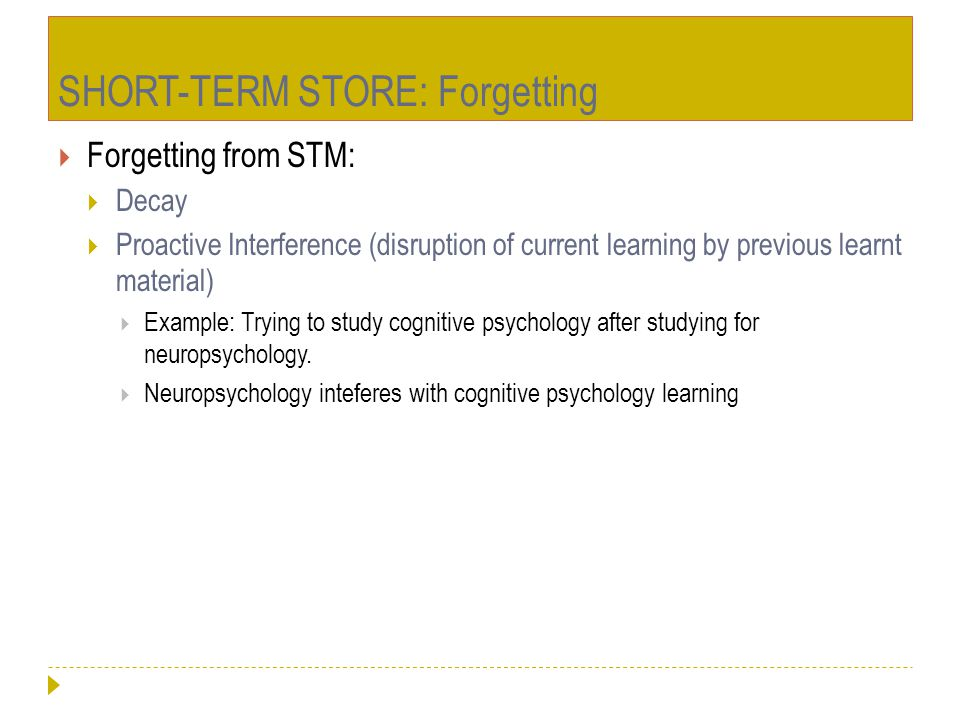 SHORT-TERM STORE: Forgetting