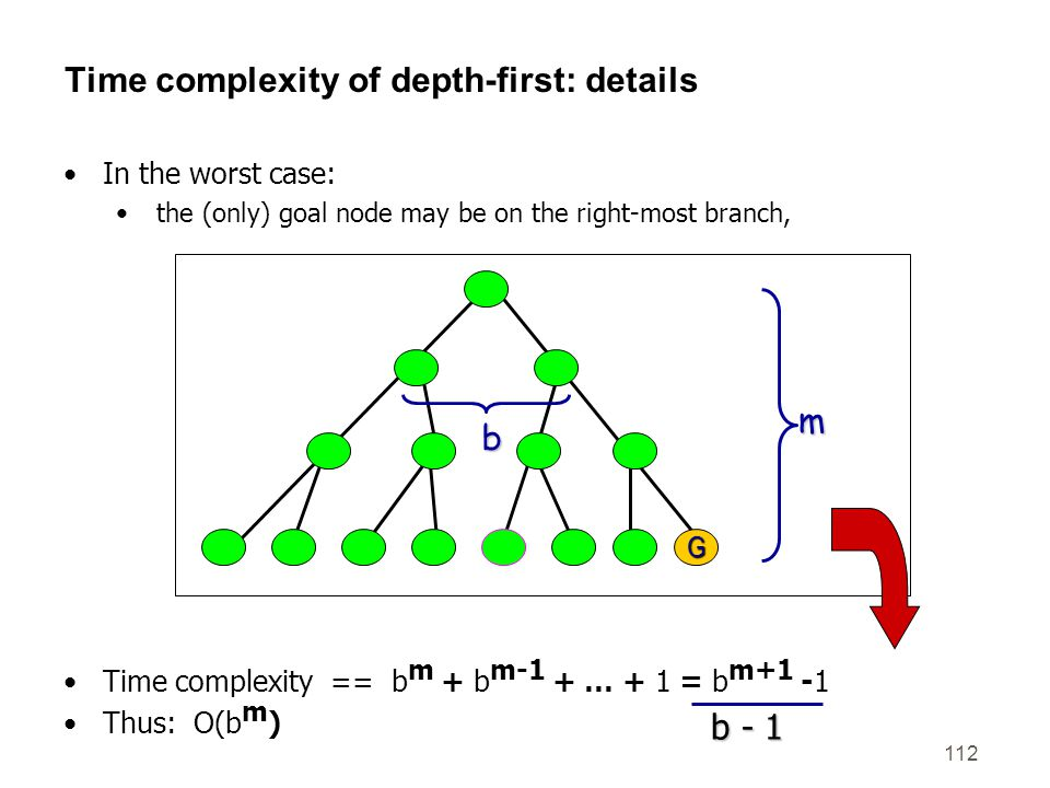 Time complexity of depth-first: details