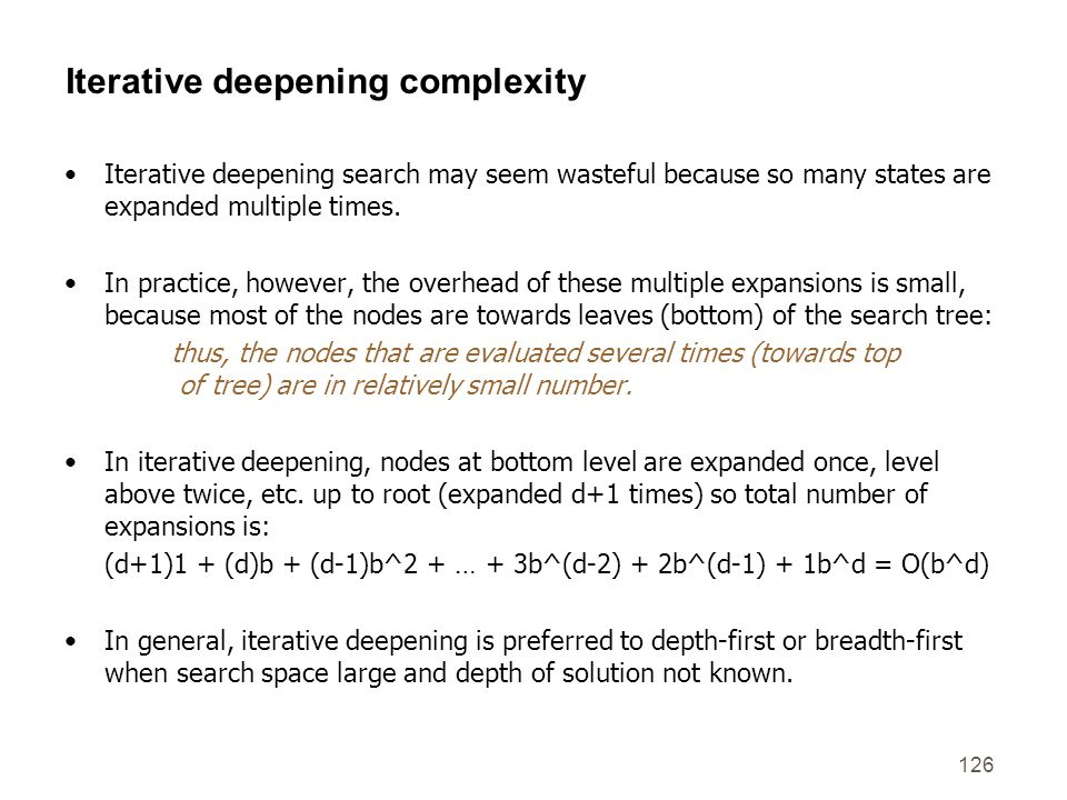 Iterative deepening complexity
