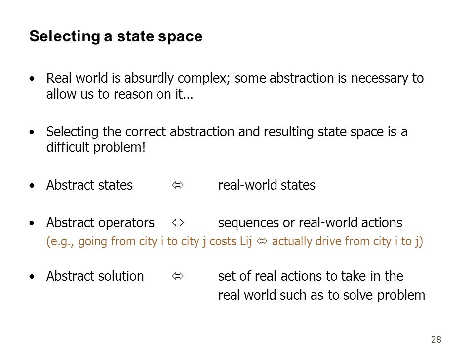 Selecting a state space