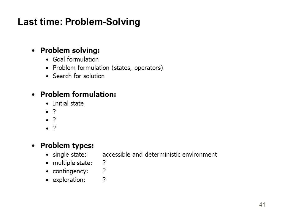 Last time: Problem-Solving
