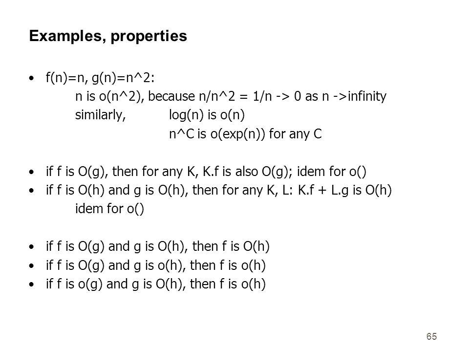 Examples, properties f(n)=n, g(n)=n^2: