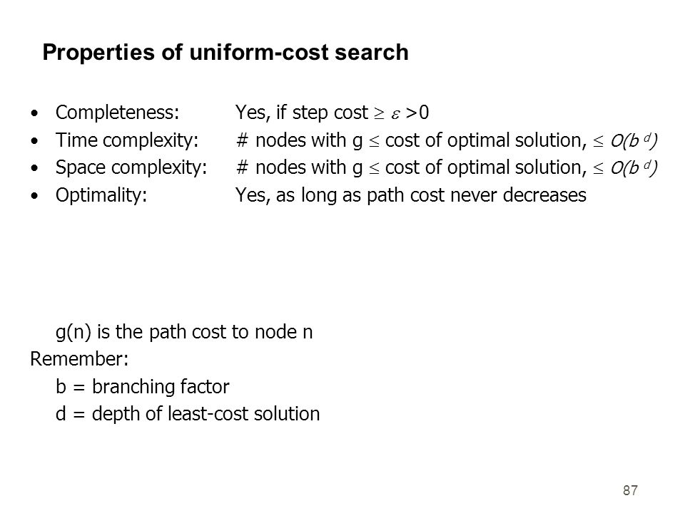 Properties of uniform-cost search