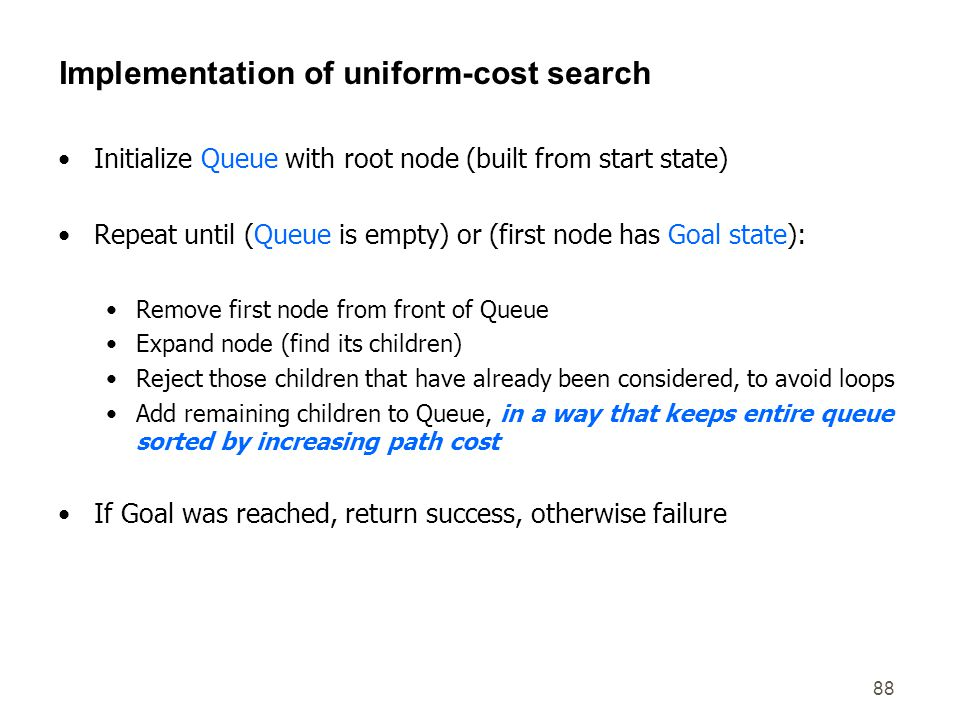 Implementation of uniform-cost search