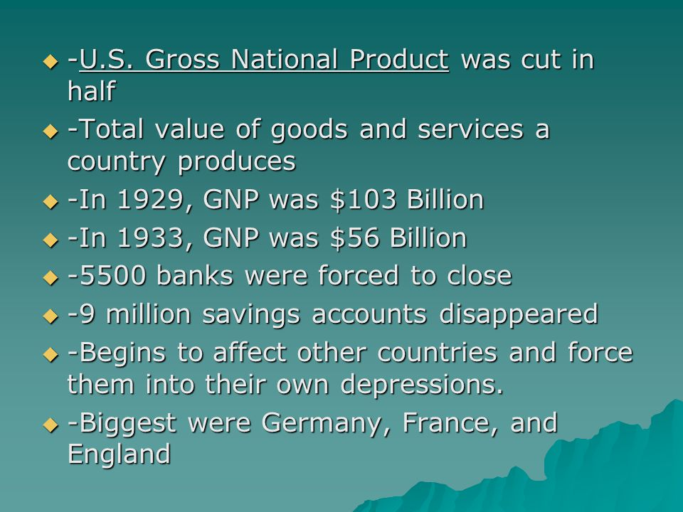 -U.S. Gross National Product was cut in half