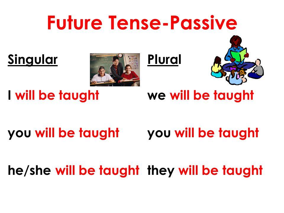 Future Tense-Passive Singular I will be taught you will be taught he/she will be taught
