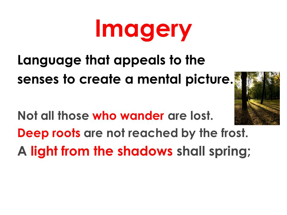 Imagery Language that appeals to the