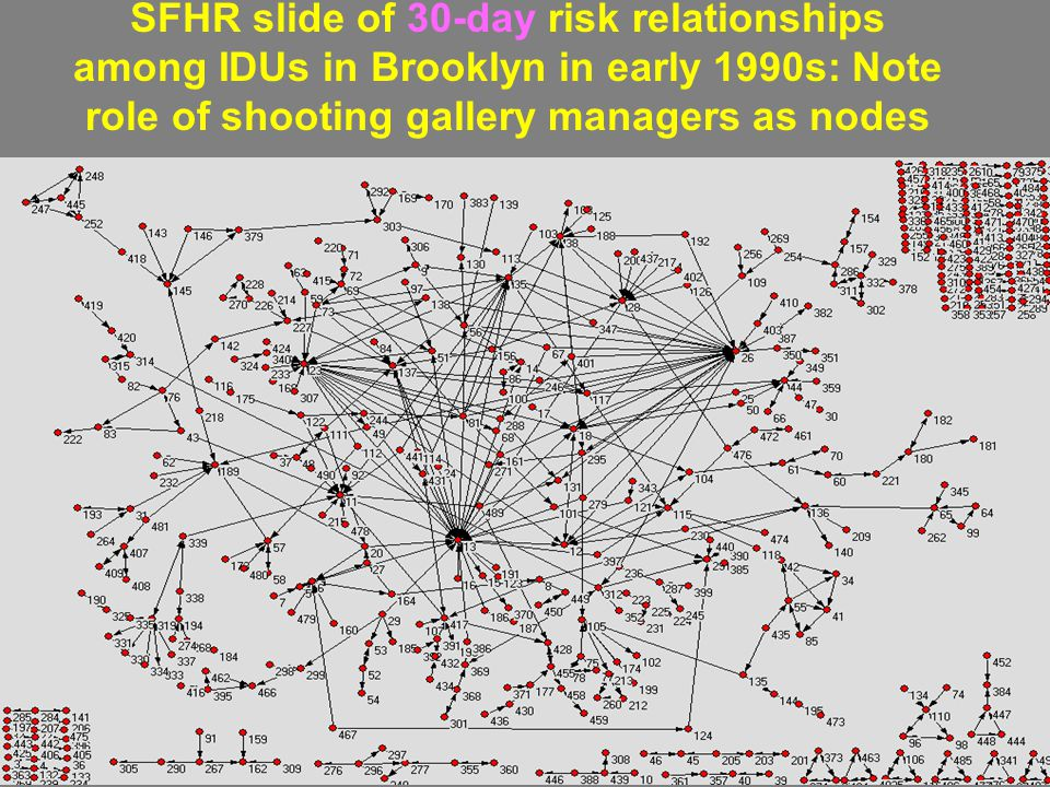 SFHR slide of 30-day risk relationships among IDUs in Brooklyn in early 1990s: Note role of shooting gallery managers as nodes