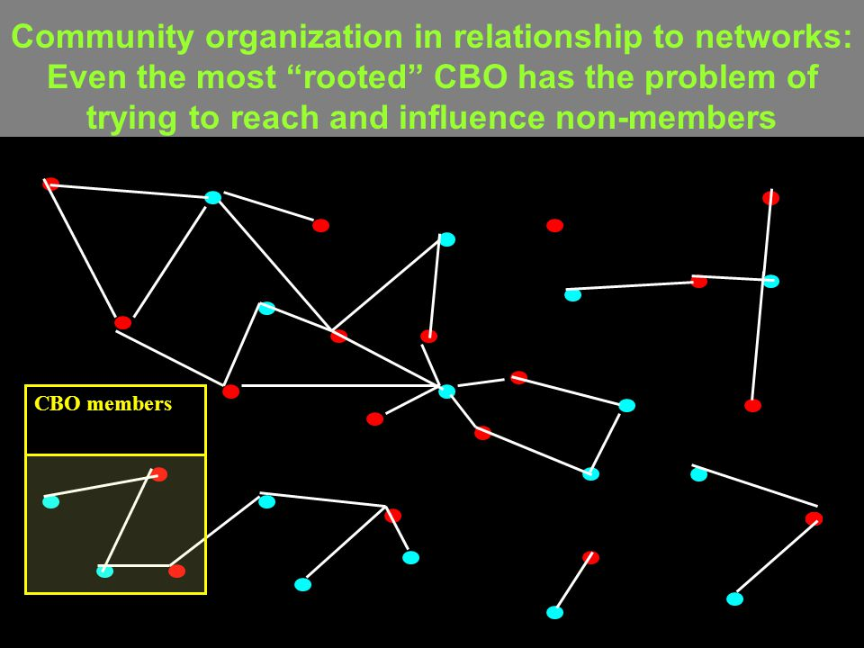 Community organization in relationship to networks: Even the most rooted CBO has the problem of trying to reach and influence non-members