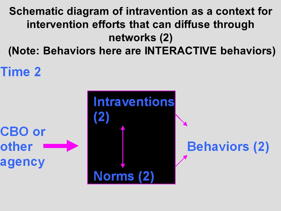Schematic diagram of intravention as a context for intervention efforts that can diffuse through networks (2) (Note: Behaviors here are INTERACTIVE behaviors)