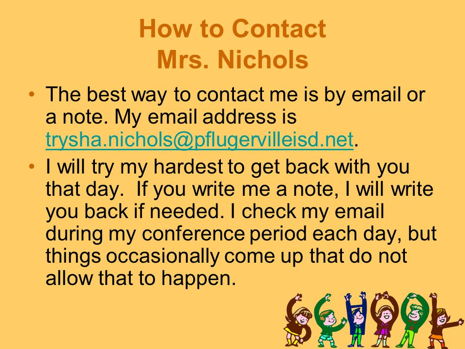 How to Contact Mrs. Nichols