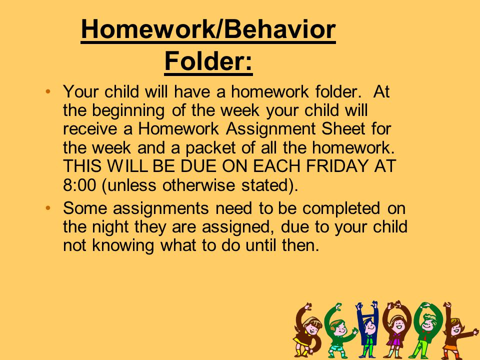 Homework/Behavior Folder: