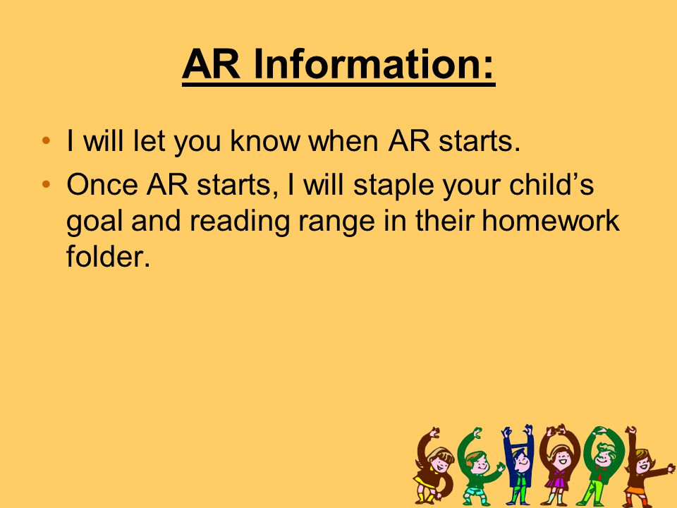 AR Information: I will let you know when AR starts.