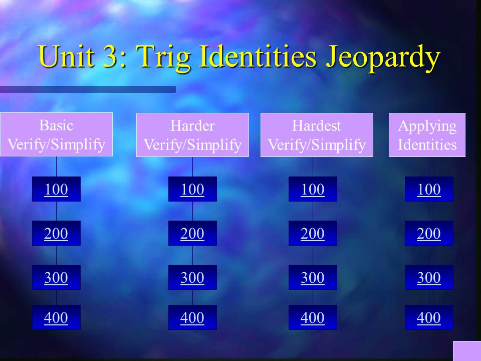 Unit 3: Trig Identities Jeopardy