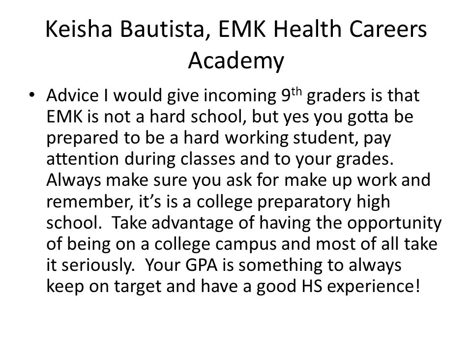 Keisha Bautista, EMK Health Careers Academy