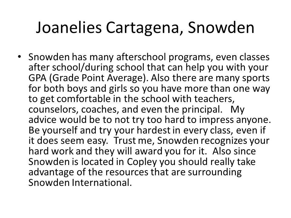 Joanelies Cartagena, Snowden