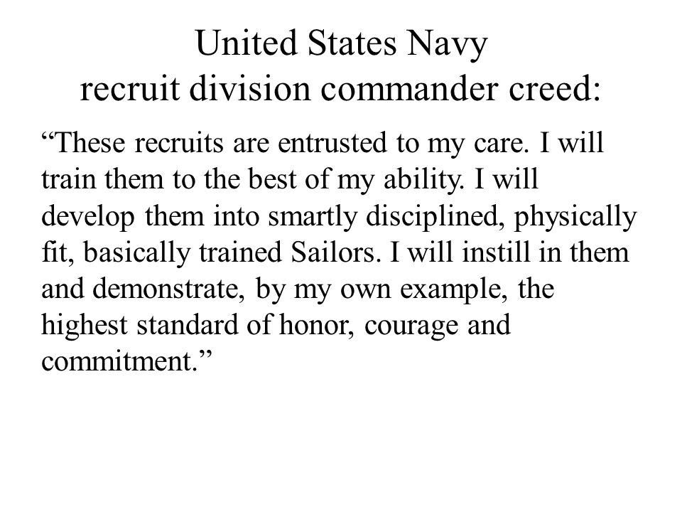 United States Navy recruit division commander creed: