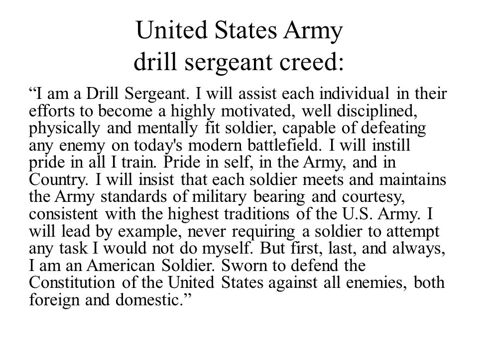 United States Army drill sergeant creed: