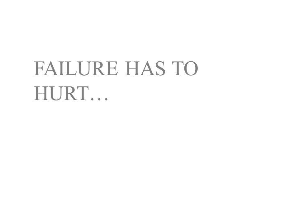 FAILURE HAS TO HURT…