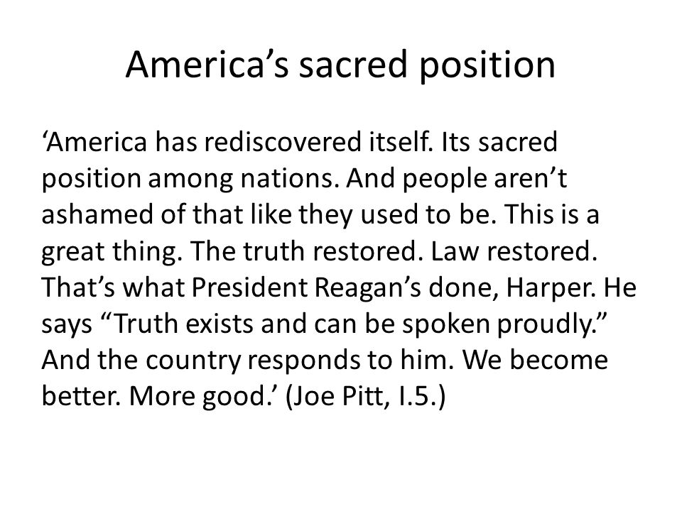 America's sacred position