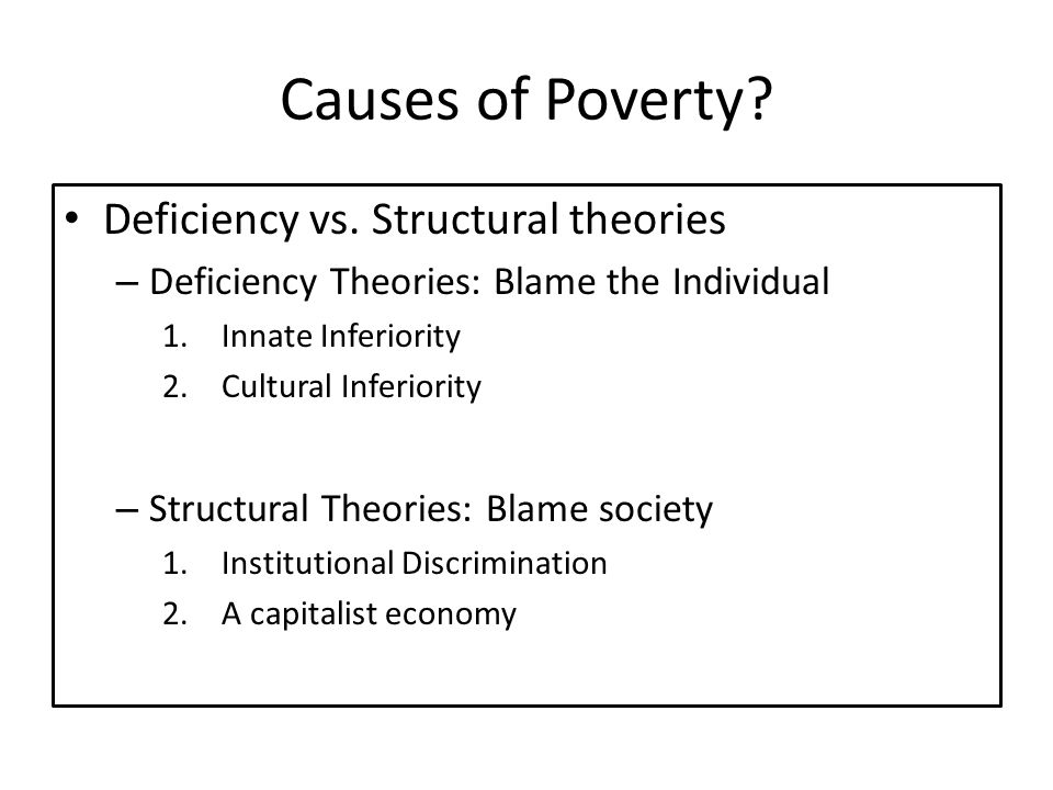 Causes of Poverty Deficiency vs. Structural theories