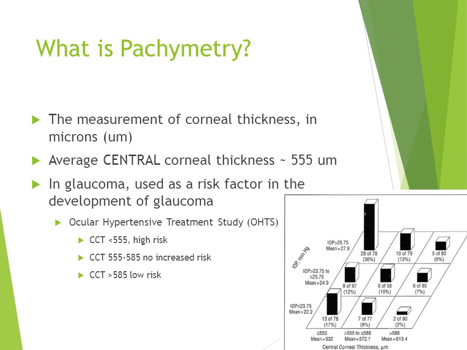 What is Pachymetry The measurement of corneal thickness, in microns (um) Average CENTRAL corneal thickness ~ 555 um.