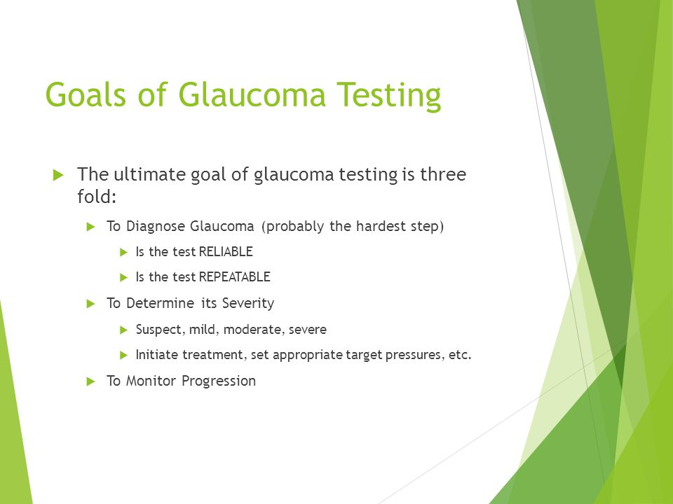 Goals of Glaucoma Testing