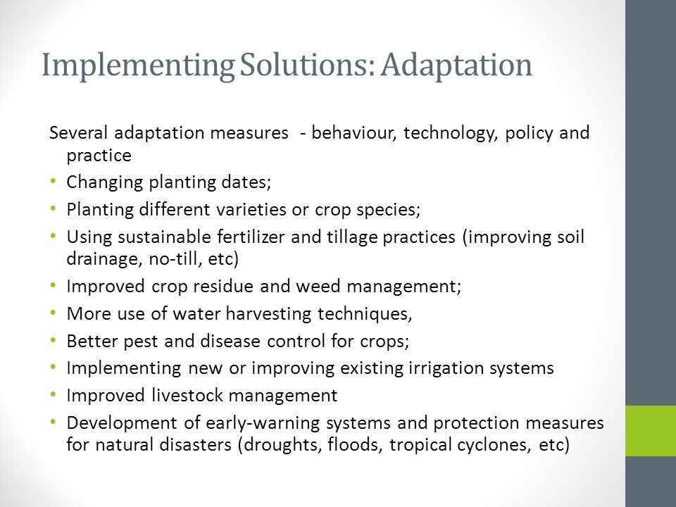 Implementing Solutions: Adaptation