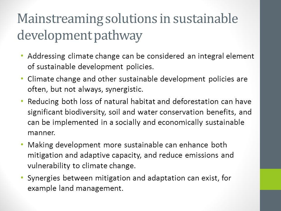 Mainstreaming solutions in sustainable development pathway