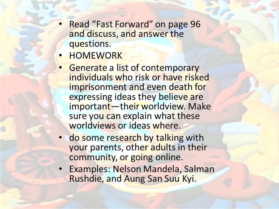 Read Fast Forward on page 96 and discuss, and answer the questions.