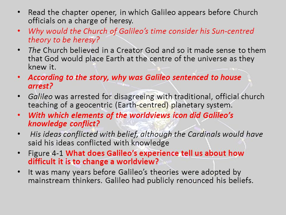 Read the chapter opener, in which Galileo appears before Church officials on a charge of heresy.