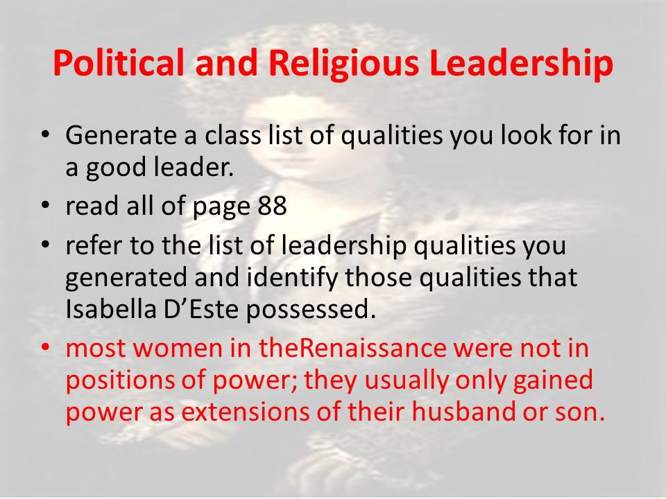 Political and Religious Leadership