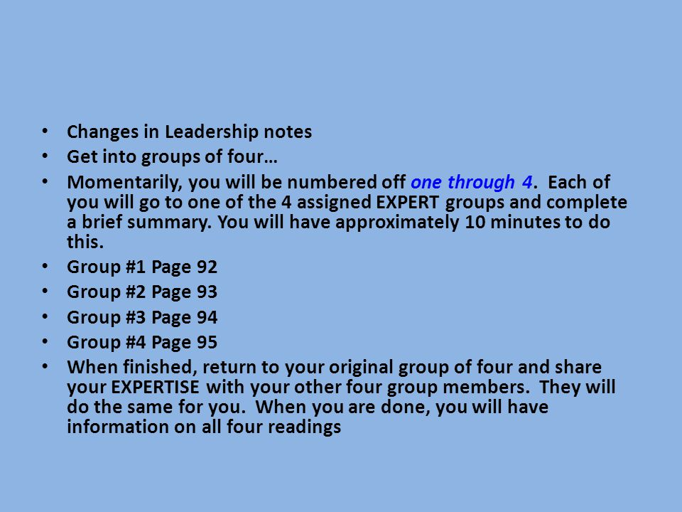 Changes in Leadership notes